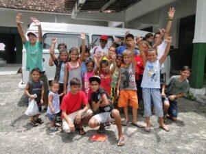 Van with kids